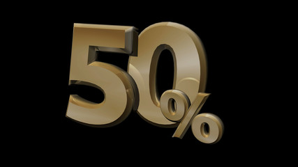 50 percent sale gold 3d