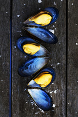 Mussels in shell with salt on wooden table