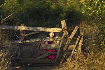 Little girl being  an old wooden fence
