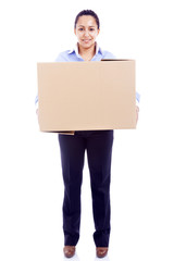 Businesswoman carrying a card box, isolated on white background