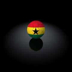 Ghana - Pallone con bandiera su sfondo nero