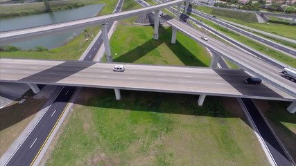 Aerial footage highway interchange