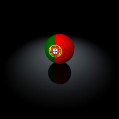 Portogallo - Pallone con bandiera su sfondo nero