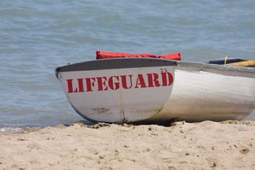 Lifeguard boat at the beach