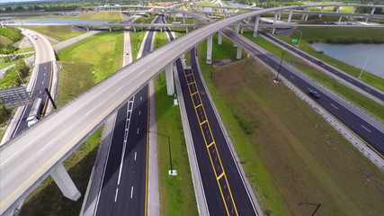 Highway interchange aerial video