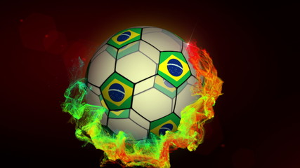 Soccer Ball and Brazil Flags, Loop