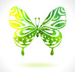 Green color background with watercolor butterfly