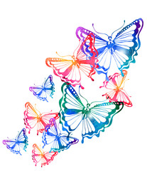 Colorful background with watercolor butterfly