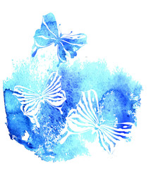 Bluel background with watercolor butterfly