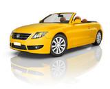 Fototapety Yellow Convertible 3D Car