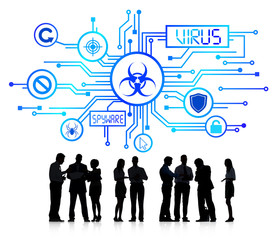 Silhouette Group of Business People with Virus Concept