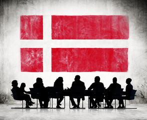 Business People and the National Flag of Denmark