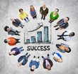 Multi-Ethnic Group of People and Success Concepts