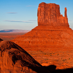 West Mitten at Sunset in Monument Valley