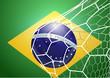 Soccer ball in net with brazil flag, Vector illustration modern