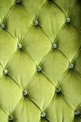 Close up Green sofa background