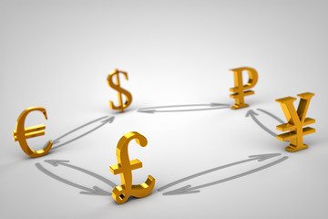 Golden Currency signs. Pound