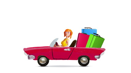 Girl Traveling by car with luggage, stop motion.