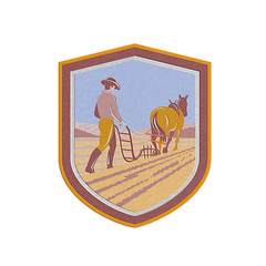 Metallic Farmer and Horse Plowing Farm Field Crest Retro