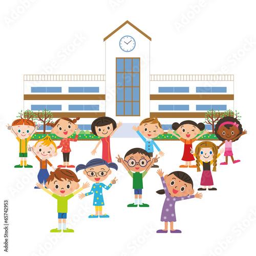 学校に通う子供達