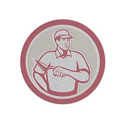 Metallic Tiler Plasterer Mason Masonry Worker Circle