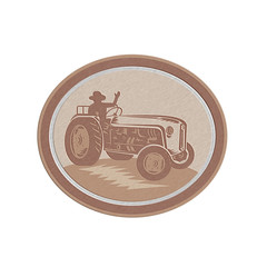 Metallic Vintage Farm Tractor Driver Waving Circle Retro