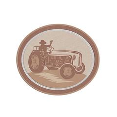 Metallic Vintage Farm Tractor Driver Waving Circle Retro
