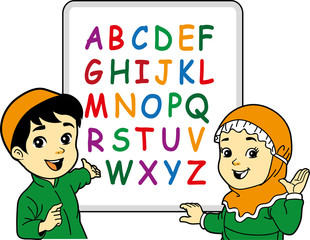 Moslem children learn to read