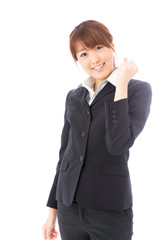 asian businesswoman cheering on white background