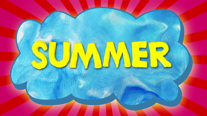 Summer text on cloud, stop motion.