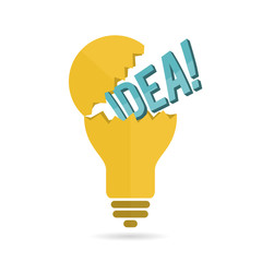 Idea Text Light Bulb Crack