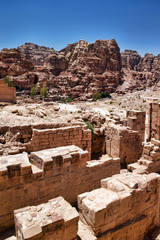 Beautiful red rock formations in Petra