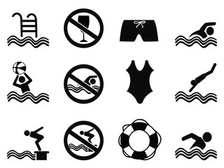 swimming icons set