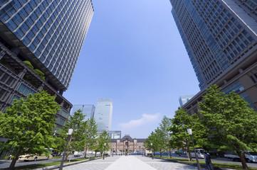 丸の内高層ビル街と東京駅(超広角)