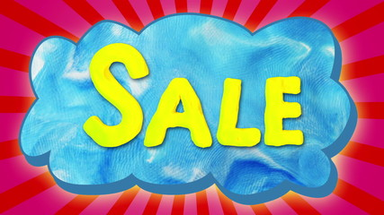 Sale text on cloud, stop motion.