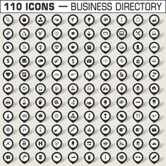 Map pointers icon set for business directory