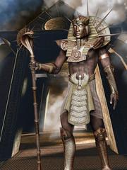 Faraon w złotej zbroi i masce