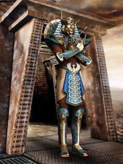 Faraon w masce na tle piramidy