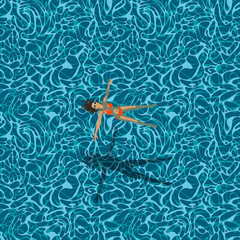 Woman in swimming pool, seamless pattern