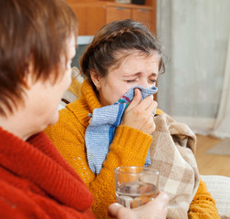 sick woman with running nose
