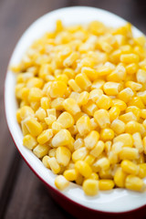 Vertical shot of sweet corn kernels in a glass bowl, close-up