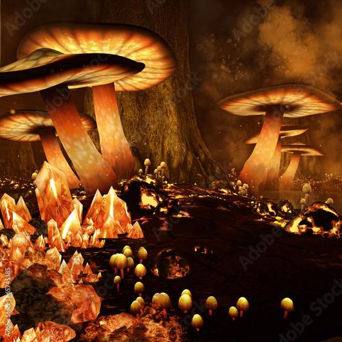 Zaczarowany las z ognistymi grzybami i kryształami