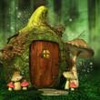 Zielony las z baśniowym domkiem elfów - 65745567