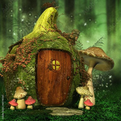 Zielony las z baśniowym domkiem elfów