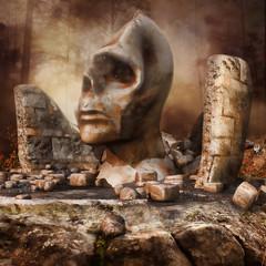 Ruiny świątyni z posągiem w kształcie głowy