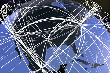 USA and North America Global Network Connections 3D Illustration