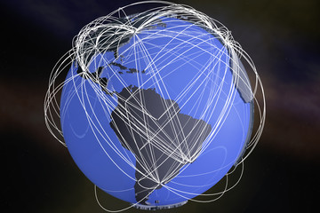 South America Global Network Connections3D Illustration