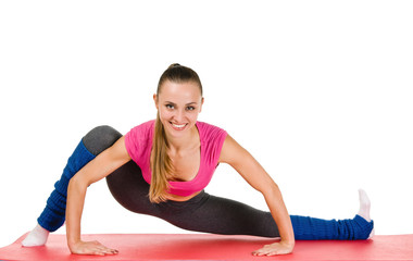 Young woman fitness exercises