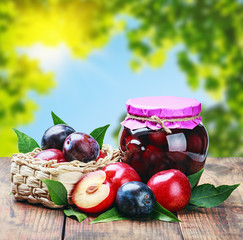 ripe plum and fresh canned