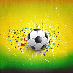 soccer ball dash on green grunge texture background